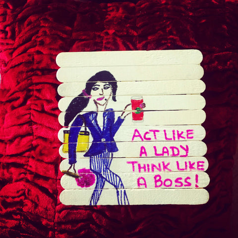 Handmade Lady in Blue Fridge Magnet