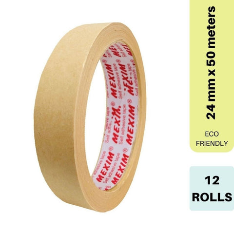 Self Adhesive Kraft Paper Tape (12 Rolls)