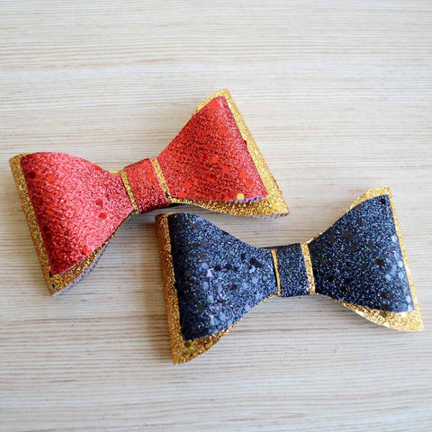 Glitter Hair Bow Clip Red Black and Gold