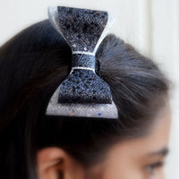 Glitter Hair Bow Clip (Red,Black and Silver)