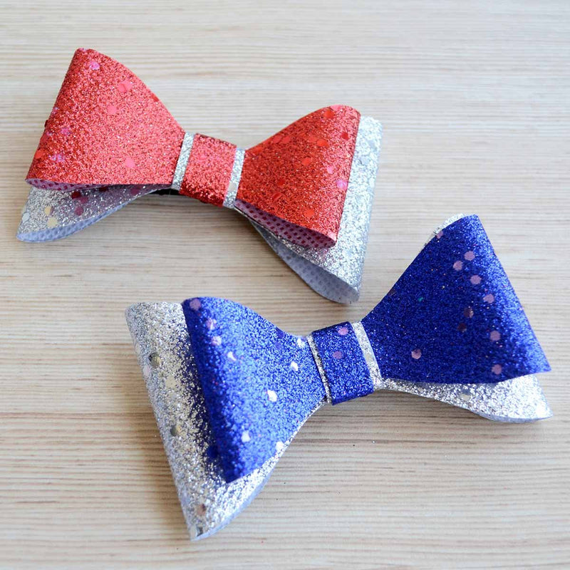 Glitter Hair Bow Clip (Red, Blue and Silver)