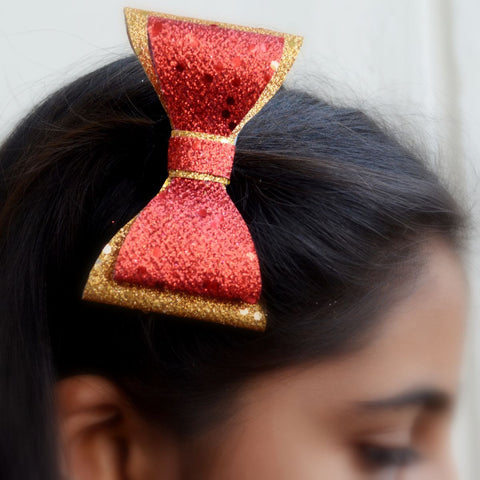 Glitter Hair Bow Clip (Red Pink and Gold)