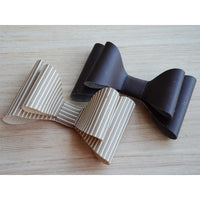 Matte Leather Striped Cream Hair Bow Clip (Beige and Brown)