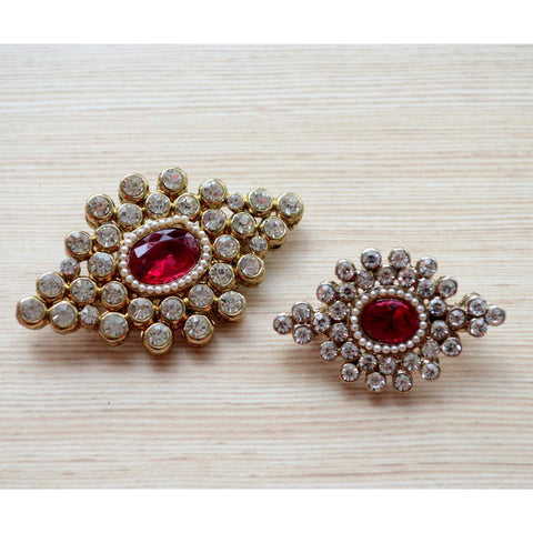 Set of 2 Party Wear Ethnic Diamond Gold and Silver Wedding Party Wear Brooches