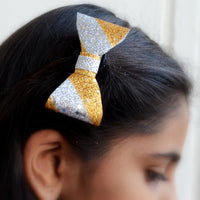 Striped Glitter Hair Bow Clip (Silver, Gold and Red)