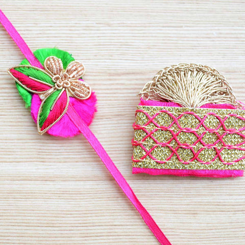 Embroidered Pink and Gold Rakhi With Tikka Set