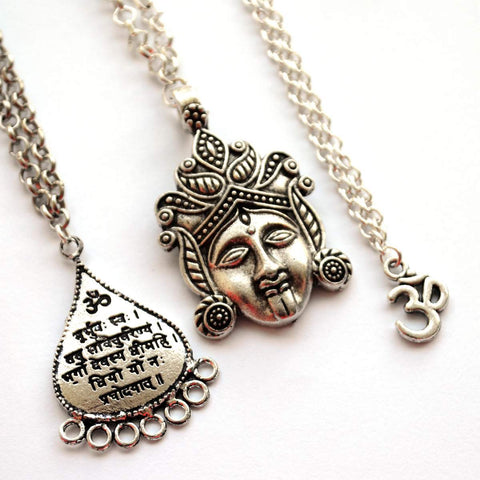 Om, Durga, and Gayatri Mantra Pendants with Chain (Set of 3)