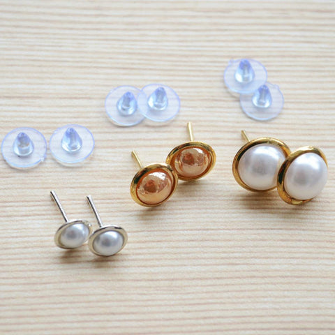 Set of three White and Coral Pearls Gold and Silver Plated Stud Earring Set