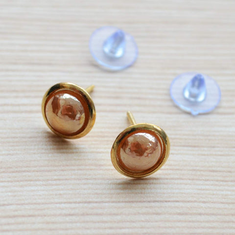 Set of two Diamante and Peach Pearl Gold Plated Stud Earring Set