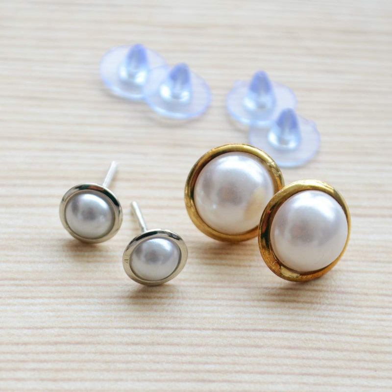 Set of two White Pearls Gold and Silver Plated Stud Earring Set
