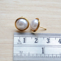 Set of two White and Peach Pearls Gold Plated Stud Earring Set