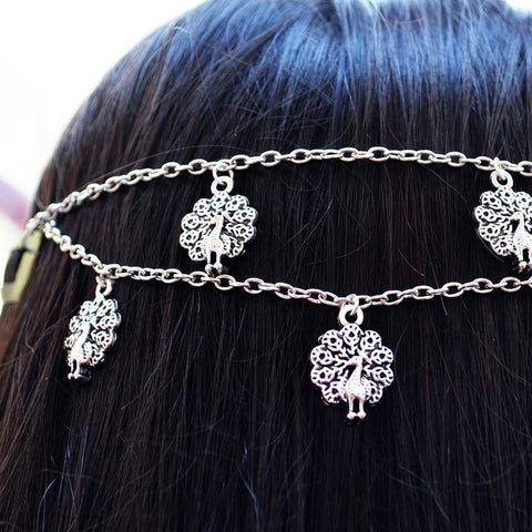 Silver Engraved Peacock Headchain