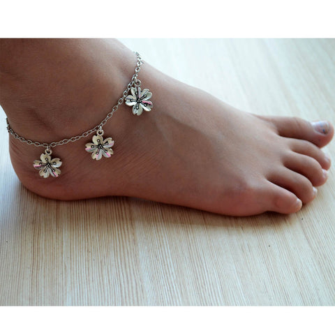 Silver Hibiscus Flower Bohemian Style Silver Anklet Payal