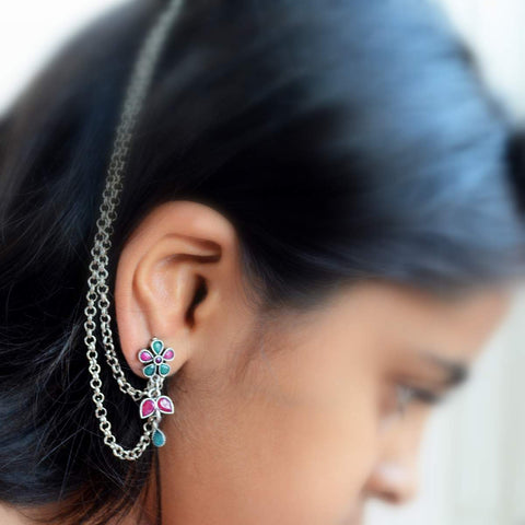 Silver Plated Bohemian Style Floral Earrings