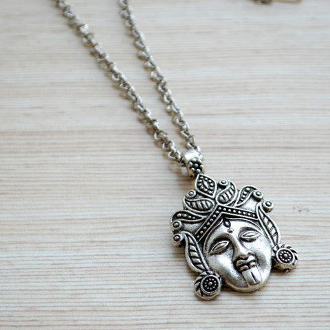 Silver Plated Durga Kali Maa Pendant with Chain