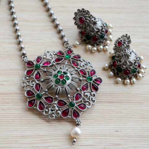 Silver Ruby Emerald Pearl Plated Flower Large Pendant Earring Set With Jhumka