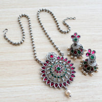 Silver Ruby Emerald Pearl Plated Mandala Large Pendant Earring Set With Jhumka