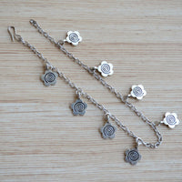 Silver Simple Flower Bohemian Style Silver Anklet Payal