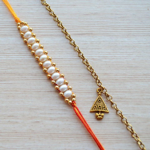 Simple Mauli Thread with Metal Bracelet Rakhi
