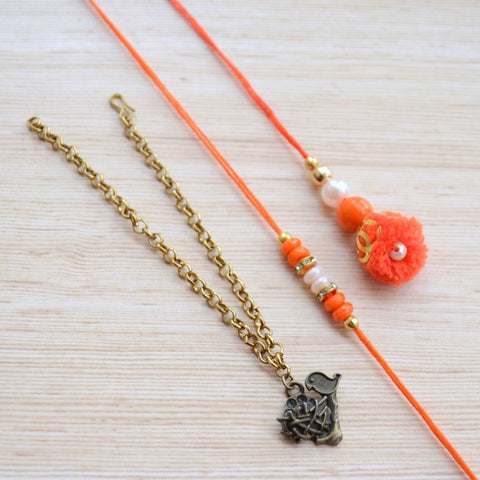 Simple Rakhi & Lumba Set ( A Metal Bracelet)