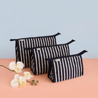 Single Zip Multipurpose Pouch (Set of 3) Navy Blue Stripes