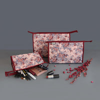 Single Zip Multipurpose Pouch (Peach and Maroon Floral) (Set of 3)