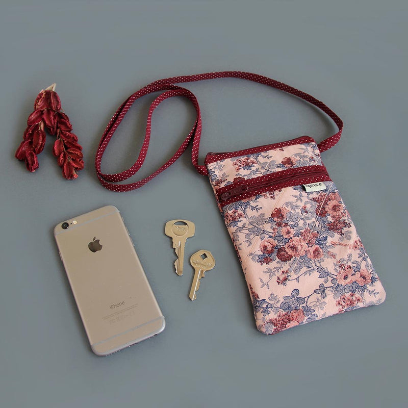 Sling Bag (Pink Floral with Maroon Dots)