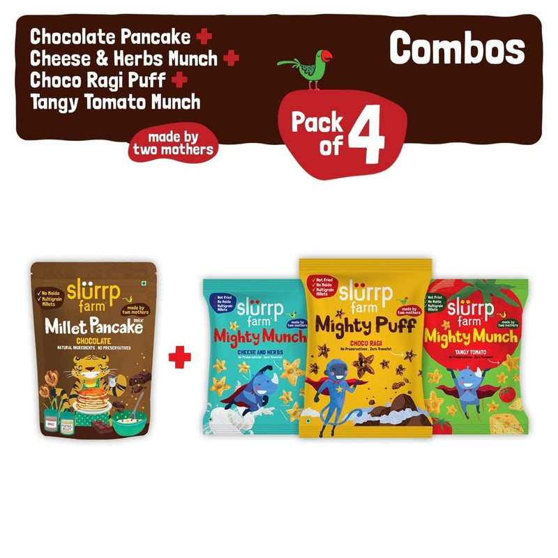 Healthy Ragi Snacks Combo Pack Of 4 - No Maida Chocolate Pancake Mix & Pack Of 3 Non Fried Puffs (Ragi Non-Fried Ready to Eat Snack for Kids)
