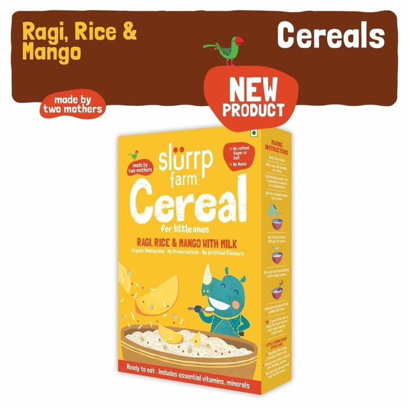 Slurrp Farm Organic Baby Cereal | Ragi, Rice and Mango with Milk | Instant Healthy Wholesome food for Babies