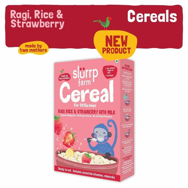 Slurrp Farm Organic Baby Cereal | Ragi, Rice and Strawberry with Milk | Instant Healthy Wholesome food for Babies
