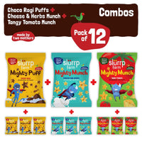 Super Healthy Snack Combo (Pack of 12) - Three Awesome flavours (Ragi Non-Fried Ready to Eat Snack for Kids)