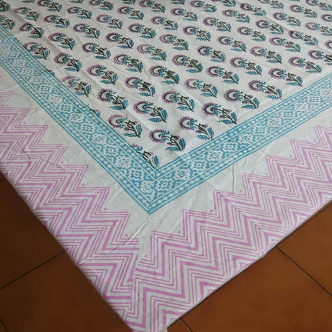 Small Flower Design Multicoloured Hand Block Printed Cotton 4 Seater Table Cover