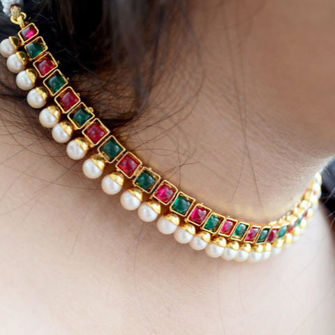 South Indian Ruby Emerald Pearl Necklace Earring Set Temple Jewelry