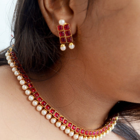 South Indian Ruby Pearl Necklace Earring Set Temple Jewelry