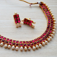 South Indian Wedding Jewelry, Ruby Pearl Necklace Earring Set
