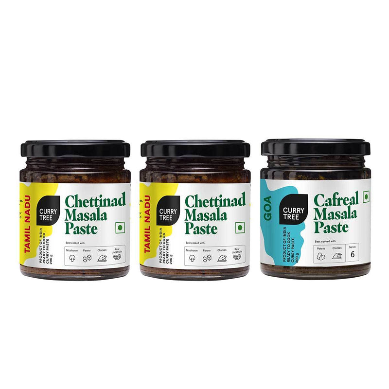 Spice 'n' Nice Pack - 2 Bottles of Chettinad Masala Paste & 1 Bottle of Cafreal Masala Paste