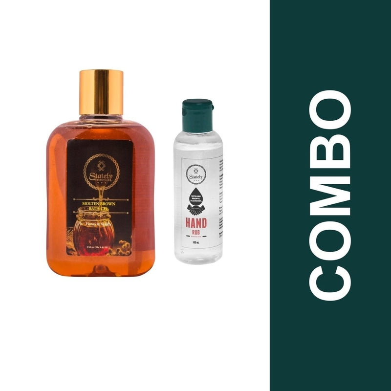 Hand Sanitizer With 70% Alcohol +Molten Brown Bath Gel (Combo Pack) - 100 ml + 100 gm