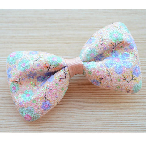 Statement Large Party Wear Bow Peach Multicolour Hair Clip