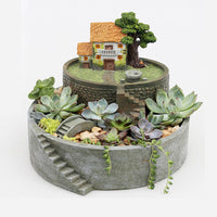 Stepped Countryside Resin Succulent Pot