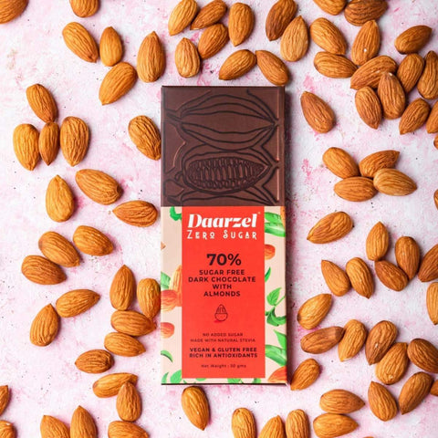 Dark Chocolate With Almond 70%  Cacao (Pack of 2) Sugar Free | | Vegan | Gluten Free |