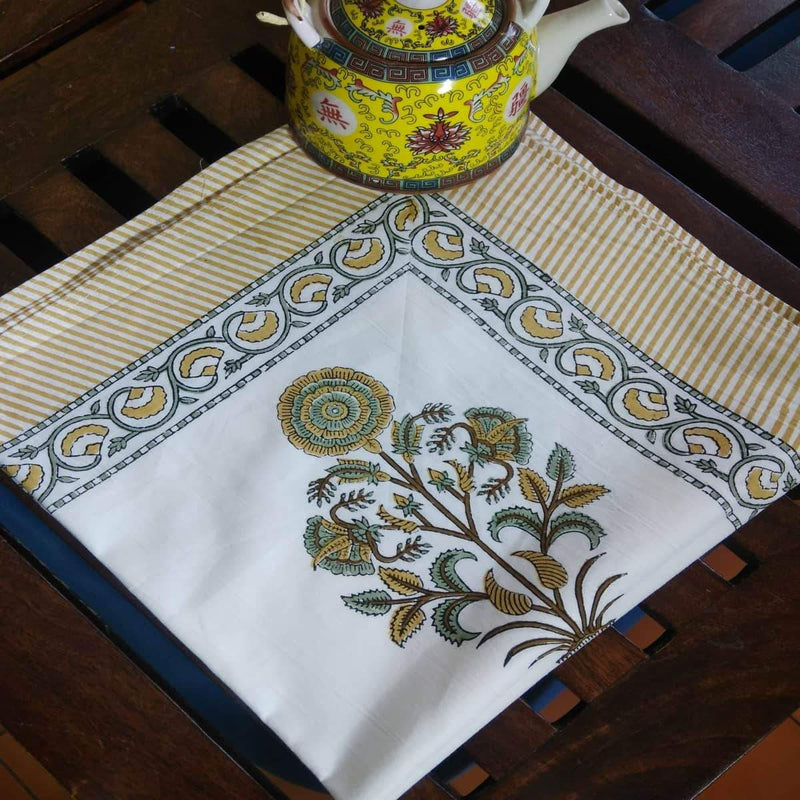 Sun Flower Design Yellow Colour Hand Block Printed With Natural Colour Cotton 4 Seater Table Cover