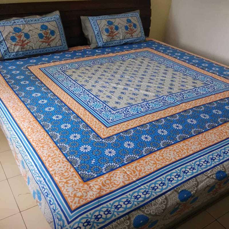 Flower with Jaal Print Super King Size Bedsheet (2 Pillow Cover)