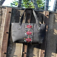 Handcrafted Two Zipper Aari Work Tote (Black)