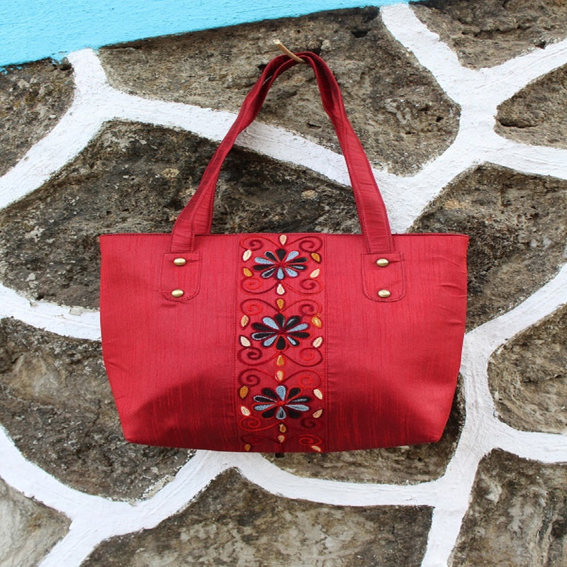 Handcrafted Two Zipper Aari Work Tote (Maaron)