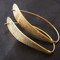 Texture Brass Hoops Earrings, Hand Hammer Finish