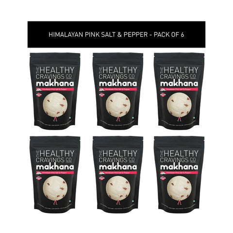 Roasted Makhana - Himalayan Pink Salt & Pepper (Pack of 6)