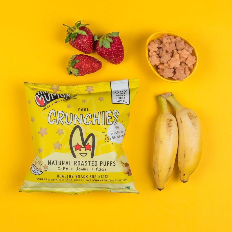 Cool Crunchies (Multigrain Roasted Puffs Strawberry Banana)(Pack of 5)