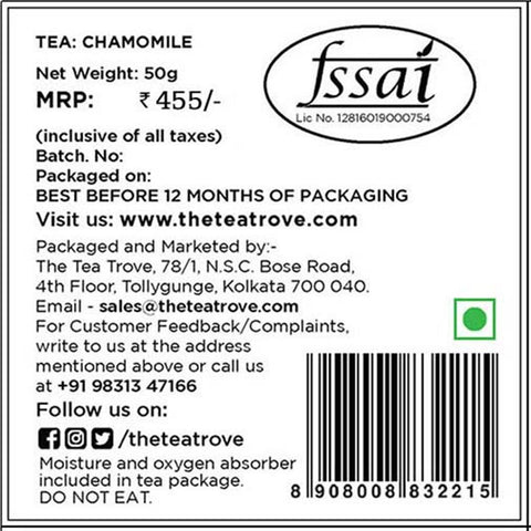 Organic Chamomile Herbal Tea ( 50 Cups)