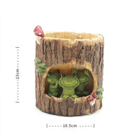 Three Wise Frogs In Treehouse Resin Succulent Pot