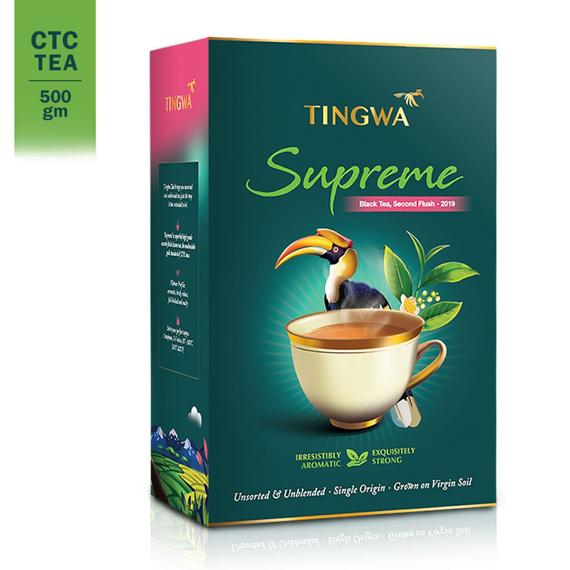 Tingwa Tea - Supreme, 500gm | Flavorful, Assam Second-Flush CTC Tea